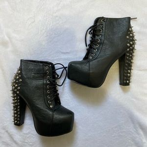 Black studded booties, Ankle boots high